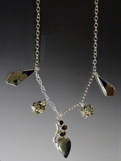 Pyrite In Magnetite Healer's Gold & Black Onyx Multi Charm Necklace - ONE OF A KIND
