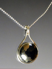 Pyrite In Magnetite Healer's Gold & Black Onyx Pendant on Sterling Ball Chain-ONE OF A KIND