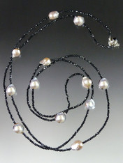 White Baroque Pearls on a Microfaceted Black Spinel Rope