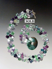 Multi Toned Fluorite Dice Torsade with Green Jasper Toggle Clasp - ONE OF A KIND