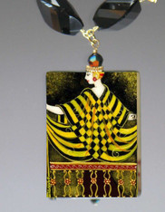 Handpainted Russian Jewelry- Art Deco Woman by Erte