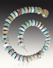 Aquamarine Matte Wheel Necklace  (BACK IN STOCK)