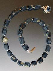 Rare Brazilian Natural Black Pyrite Sterling Collar