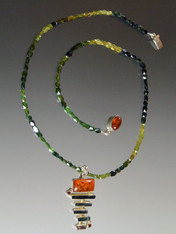 Multi Tourmaline Amber Pendant on Green Tourmaline Chain-ONE OF A KIND