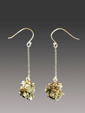 Golden Peruvian Pyrite Sterling Silver Dangle Earrings