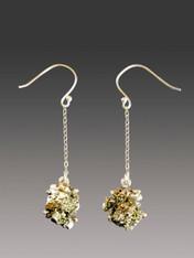 Golden Peruvian Pyrite Sterling Silver Dangle Earrings