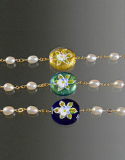 Hand Painted Venetian Glass and Porcelain Adjustable Pearl Bracelet - Multiple Colors