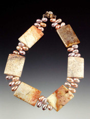 Fossilized Coral Pink Teardrop Pearl Collar