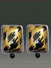 Amy Kahn Russell Russian HandPainted Animal Print Onyx SS Clip/Post Earrings