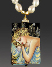 Handpainted Russian Lacquer Jewelry: Art Nouveau Sleeping Beauty