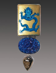 SALE-Amy Kahn Russell Russian Hand-Painted Dragon Vintage Glass Druzy S/S Pin/Pendant