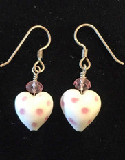 Pink Polka Dot Sterling Earring