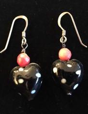 Black and White Polka Dot Heart Coral Earrings