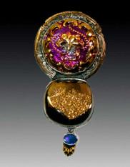 Amy Kahn Russell Vintage Czech Button Brazilian Druzy Opal Pin/Pendant