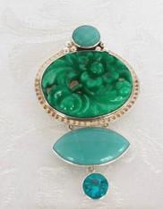 SALE - Amy Kahn Russell Vintage Celestial Quartz Amazonite Sterling Pin/Pendant