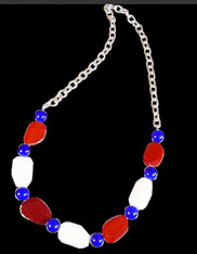 Red and White Agate and Blue Venetian Glass Rope