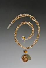 Champagne Pearl Silver Torsade Rare Ammonite Pendant