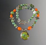 Turquoise, Carnelian, Sterling Boho Collar SOLD