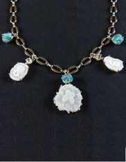 Solar Quartz Eye Neon Apatite Charm Necklace