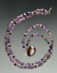Charoite Nesting Collar with Rare Purple Kaudi Shell Clasp - ONLY TWO