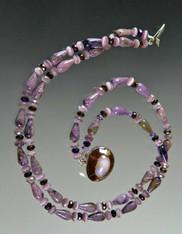 Charoite Nesting Collar with Rare Purple Kaudi Shell Clasp