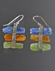 Indonesian Natural Green Orange and Blue Kyanite Sterling Silver Earrings