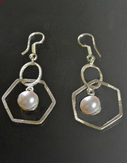 Bali Geometric Pearl Sterling Dangle Earrings