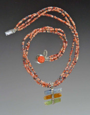 Microfaceted Gemstones with Natural Kyanite, Green and Orange Pendant