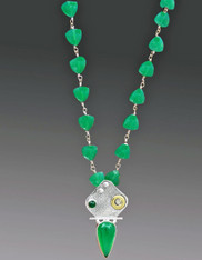Silver Wire Green Onyx Necklace with Israeli Gold and Silver Jeweled  Pendant