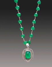 Silver Wire Green Onyx Necklace with Green Onyx Balinese Silver Pendant