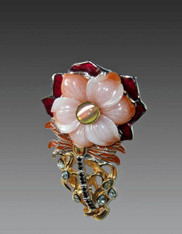 Amy Kahn Russell Pink Agate Flower Blue Topaz Sterling Pin/Pendant