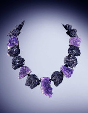 Brazilian Natural Black Tourmaline Amethyst Druzy Collar