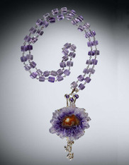 Amethyst Stalactite pendant with Hand Wrapped Silver Amethyst Chain (ONE OF A KIND)