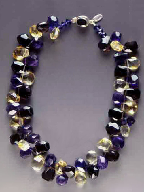 """This sparkling collar of faceted smoky topaz, amethyst and citrine explodes with the delicious colors of a blossoming pansy. (NOTE: Colors MUCH more vivid in person!) 18-1/2"""""""