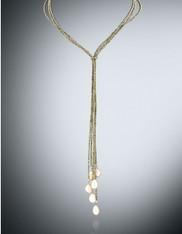 MultiStrand Gold Pyrite Baroque Pearl Lariat