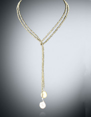 Single Strand Gold Pyrite Baroque Pearl Lariat