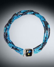 Pressed Glass Rondel Torsade With Dichroic Venetian Glass Clasp