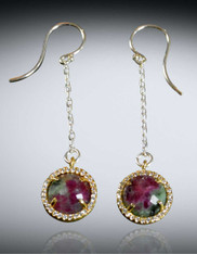 Ruby Zoisite Sterling Dangle Earrings (ONE OF A KIND)
