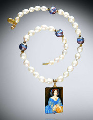 Hand Painted Russian Princess de Broglie by Ingres Pearl Necklace