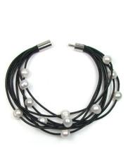 Freshwater White or Peacock Pearl Multi-strand Leather Bracelet
