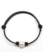 Freshwater Single  White or Peacock Pearl Adjustable  Leather Bracelet