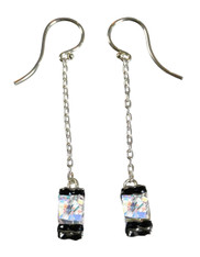 Swarowski Crystal Cube Dangle Sterling Earrings