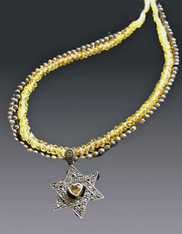 Silver Citrine Heart Star on Silver Citrine Chain