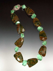 A wonderful collar of pink and green patterned rhyolite slices, rare apple green chrysophrase and 14K rondels.