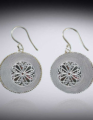 Handmade Round Textured Swirl Bali Sterling Silver Earrings