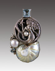 SALE-Amy Kahn Russell Nautilus Shell, Pearl Topaz Silver Mermaid Pin/Pendant  SOLD