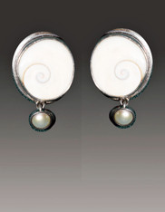Echo of the Dreamer Swirl Shell Dangle Sterling Clip Earrings