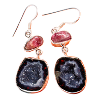 Natural Geode Druzy Pink Tourmaline Sterling Dangle Earrings ONE OF A KIND