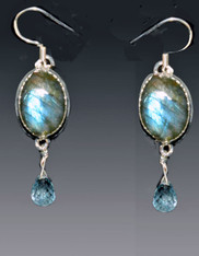 Labradorite Blue Topaz Sterling Dangle Earrings - One of a Kind