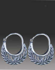 Handmade Bali Sterling Silver Hinged Hoop/Huggie Earrings w Vine Design